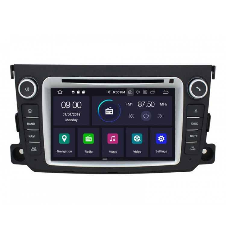 Autoradio GPS Android 9.0 Smart Fortwo depuis 2012